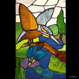 Kingfishers, copper foil and glasspainting techniques. Stained glass class. Paris, Versailles, France.