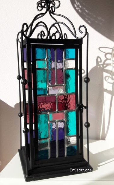 Stained glass table lamp workshop class deco