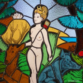 Stained Glass painting class Paris, France. Diane's myth.