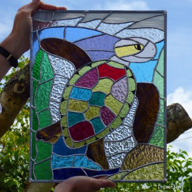 Personal project, stained glass tortle. Stained glass workshop paris versailles france