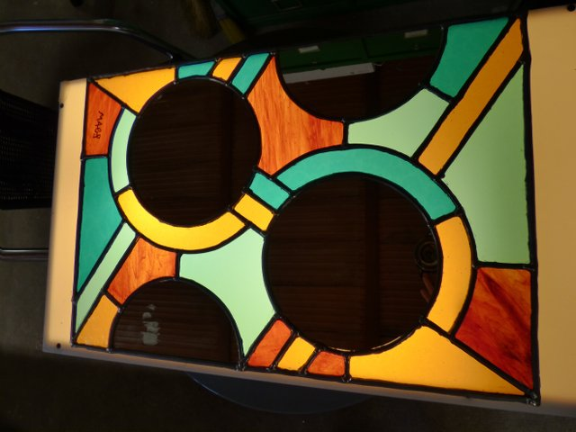 Mirror stained glass panel class
