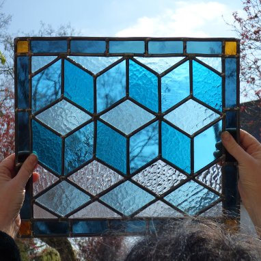 Stained glass workshop class paris versailles france abstract geometry blue