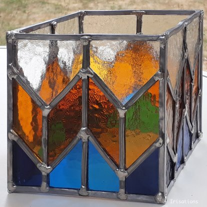 Patrick's stained glass candle holder.