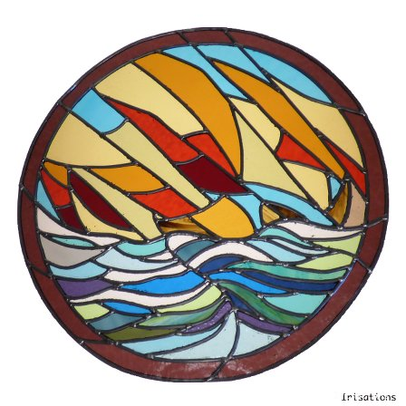 Stained glass professional education paris versailles france boat medallion personal project
